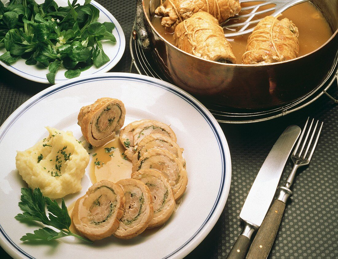 Sliced chard stuffed veal roulades