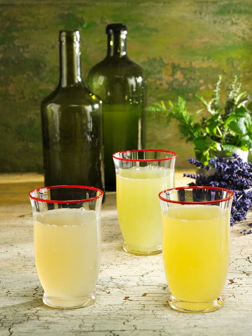 Various lemonades (lavender, stevia & herb, and cucumber & dill)