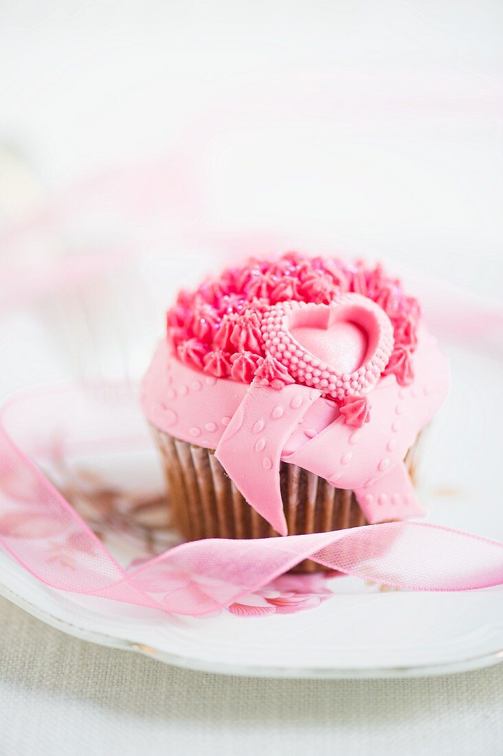 A pink cupcake for Valentine's Day