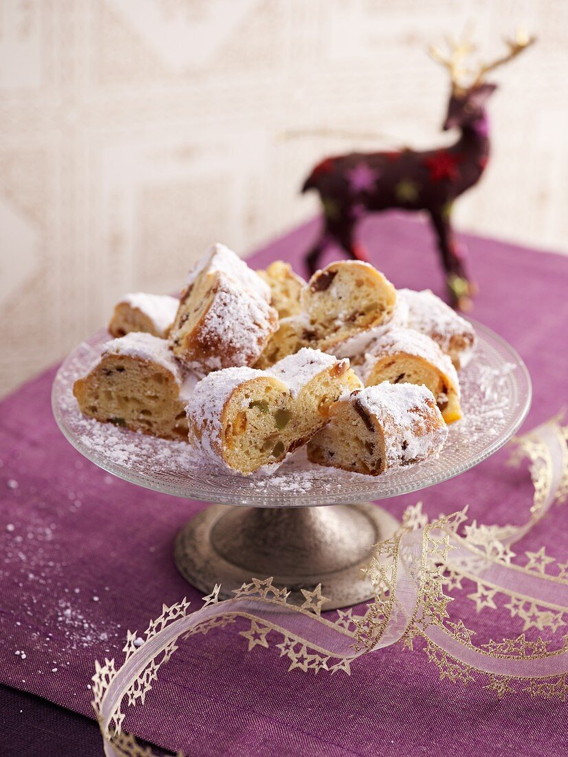 Mini stollen on a cake stand