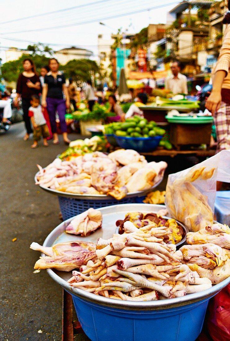Chicken bits on a market stall in Saigon (Vietnam)