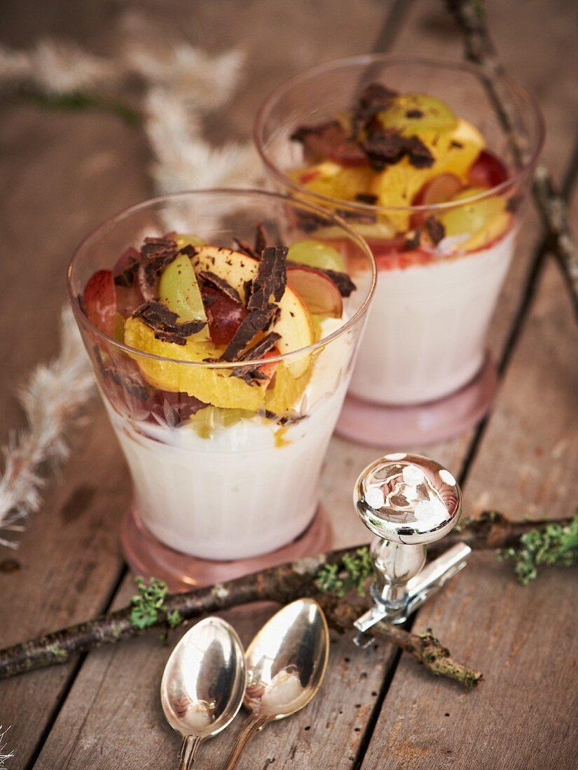 Chocolate yoghurt with fruit salad