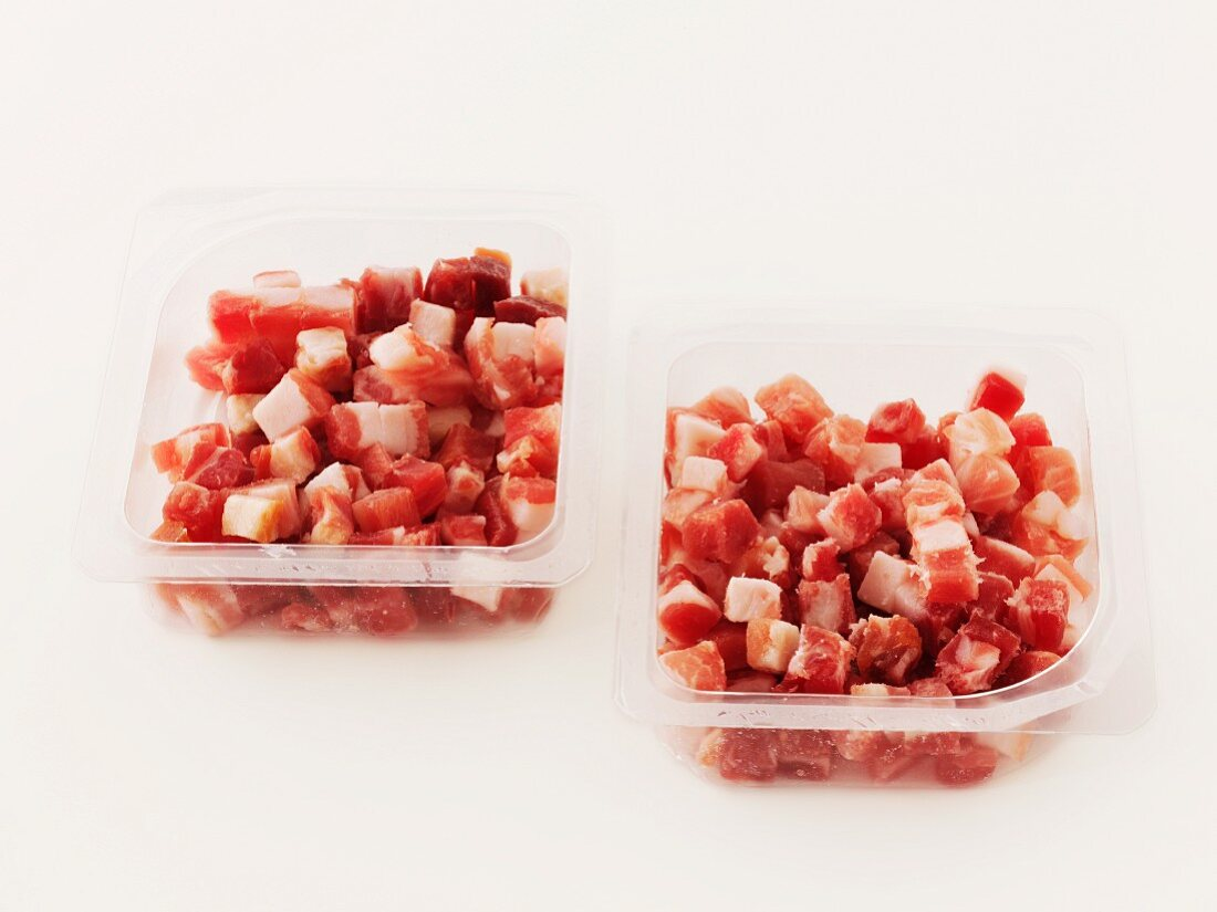 Diced Pancetta in plastic packaging
