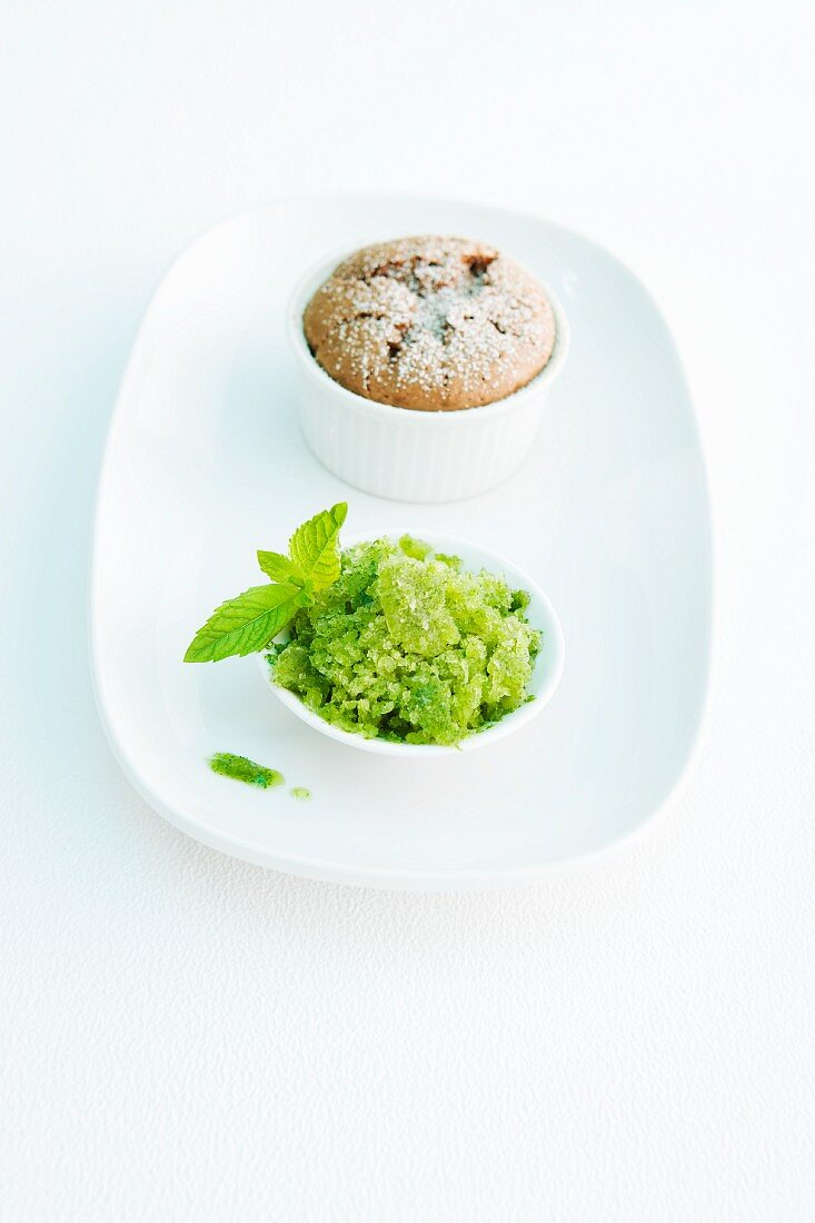 A chocolate and ginger cake served with mint granita