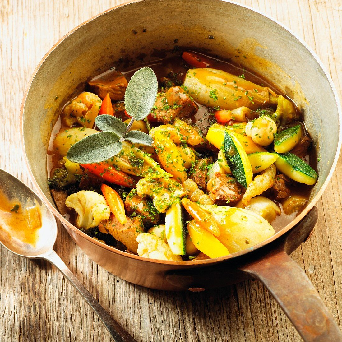 Lamb stew with vegetables and Lambic
