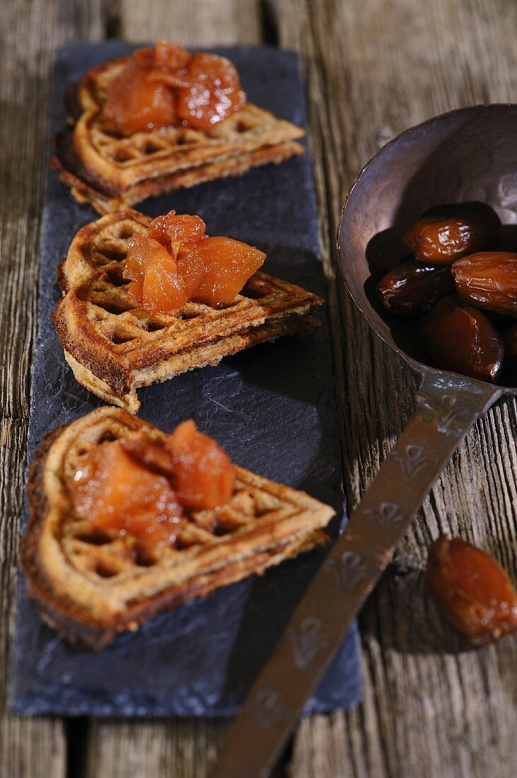 Waffles with apple and date chutney