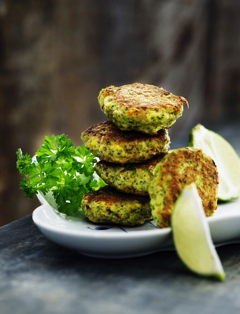 Herb and fish cakes