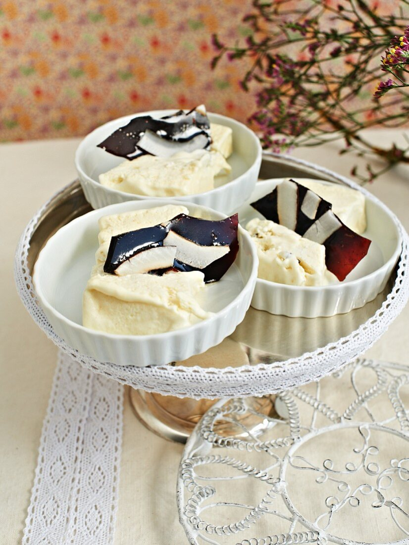 Coconut parfait decorated with caramel