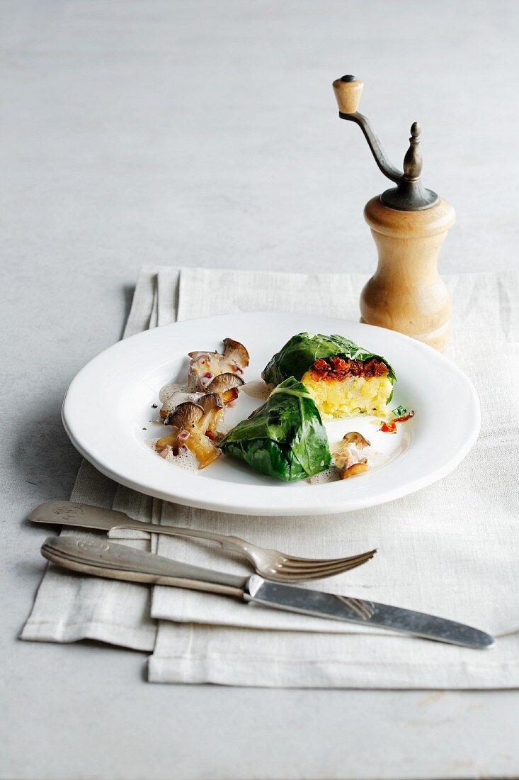 A polenta parcel wrapped in savoy cabbage
