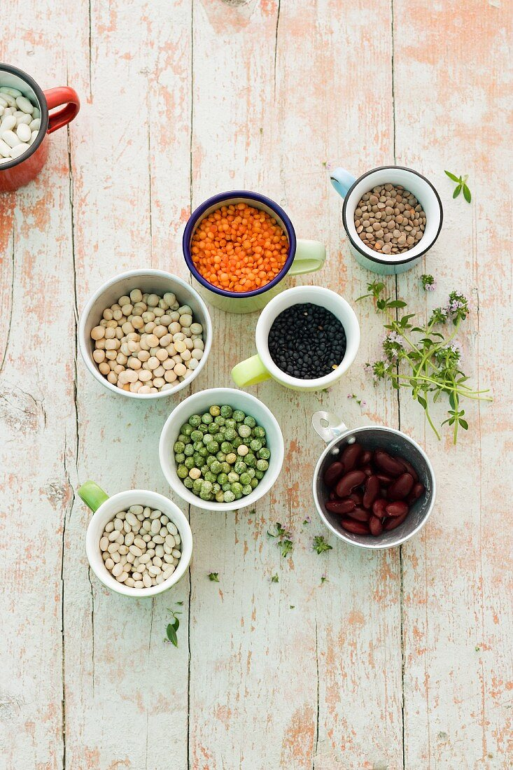 Various dried legumes in cups