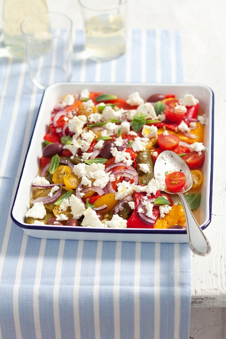 Pepper and tomato salad with red onions and feta (Greece)