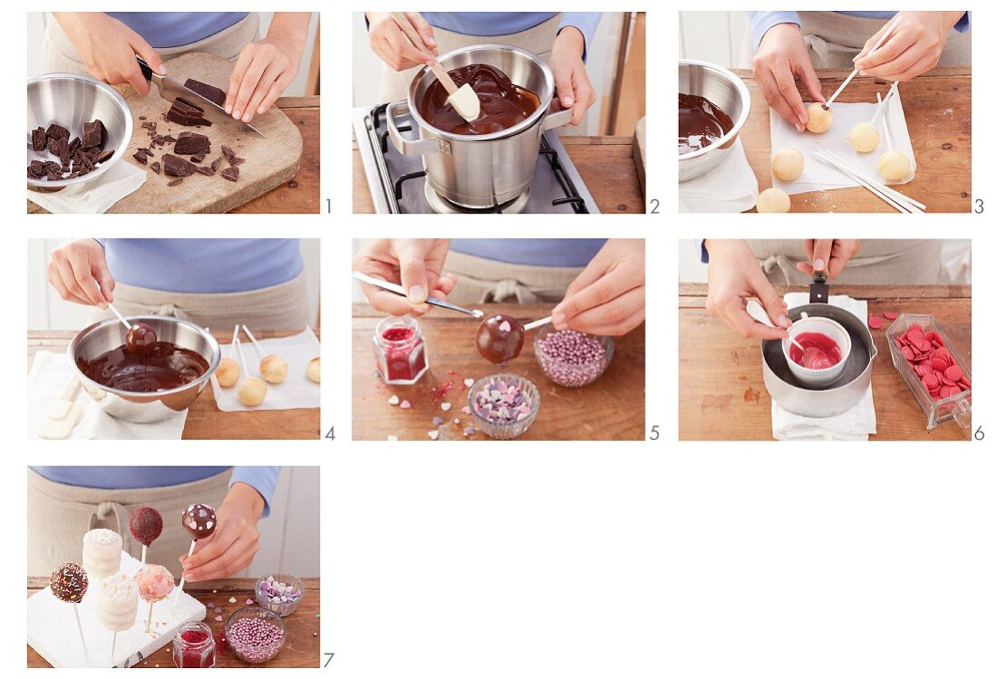 Various cake pops being made