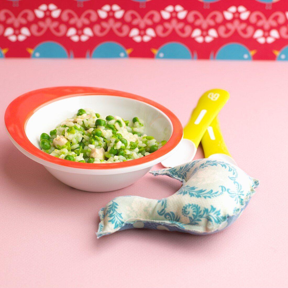 Pea and chicken risotto