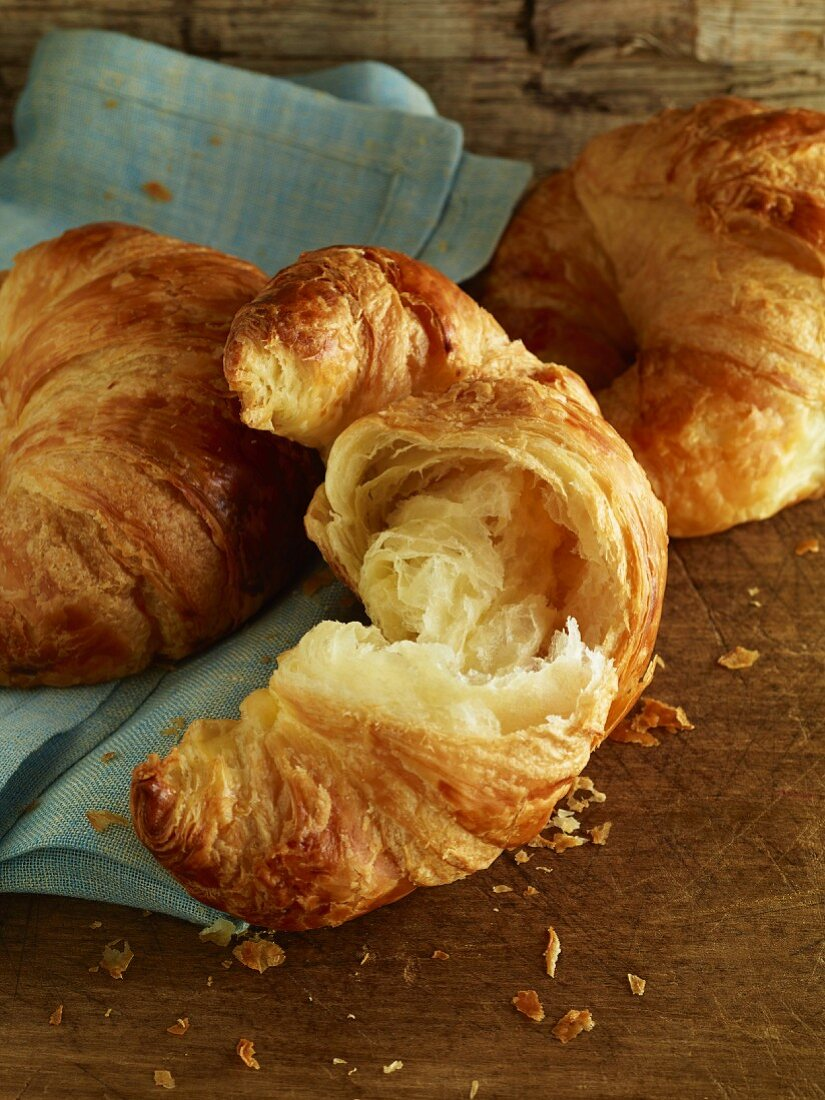 Croissants on a wood table