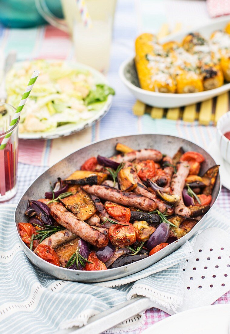 Grilled vegetables with rosemary and sausages