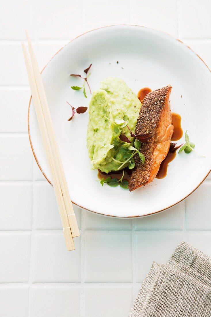 Salmon trout teriyaki with a wasabi and leek purée (Japan)