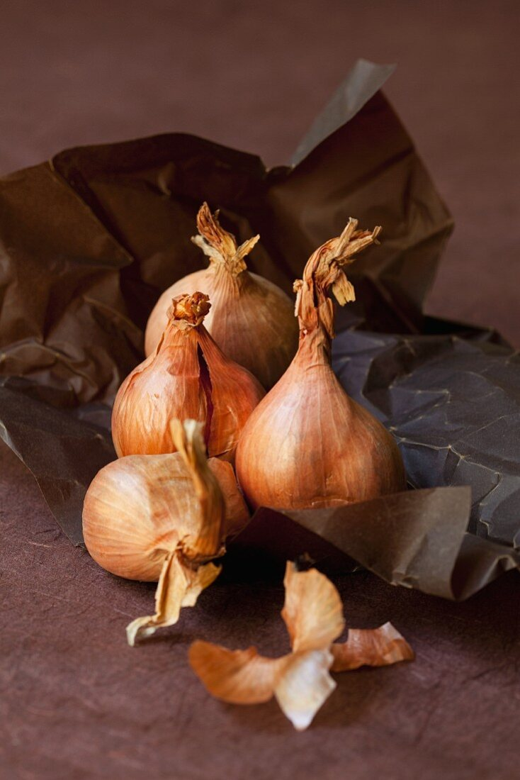 Shallots on brown paper