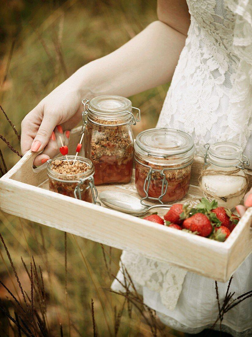 Strawberry and nectarine crumble
