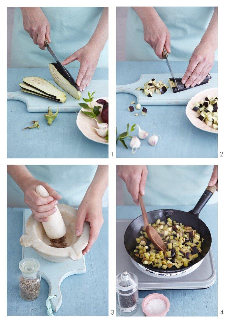 An aubergine medley being made