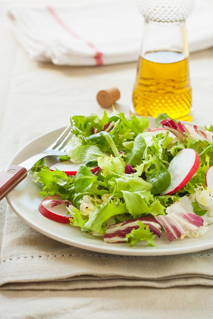 A fresh salad with radishes, lettuce and watercress