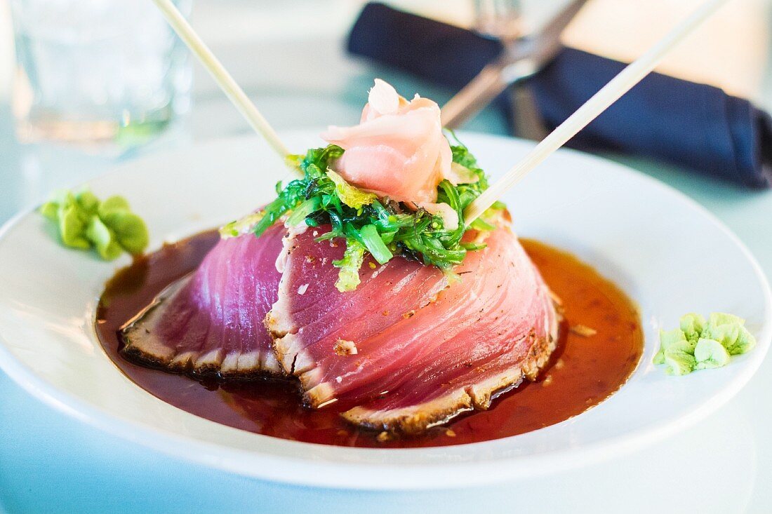 Ahi tuna with a soy glaze and pickled ginger (Japan)
