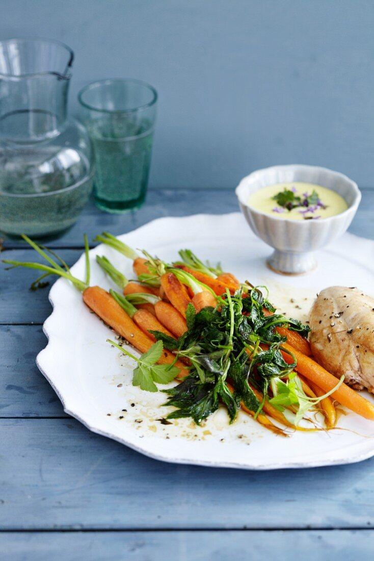 Roast carrots with ground elder