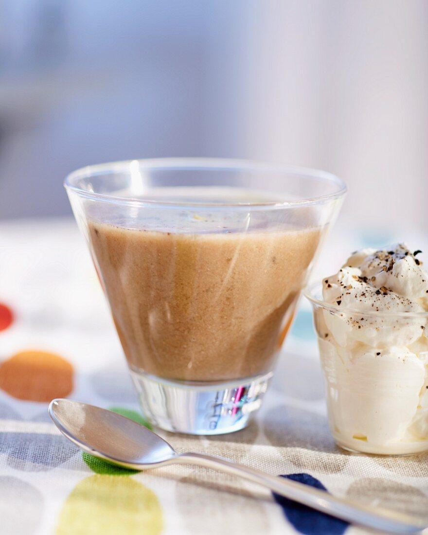 Cream of mushroom soup with horseradish cream