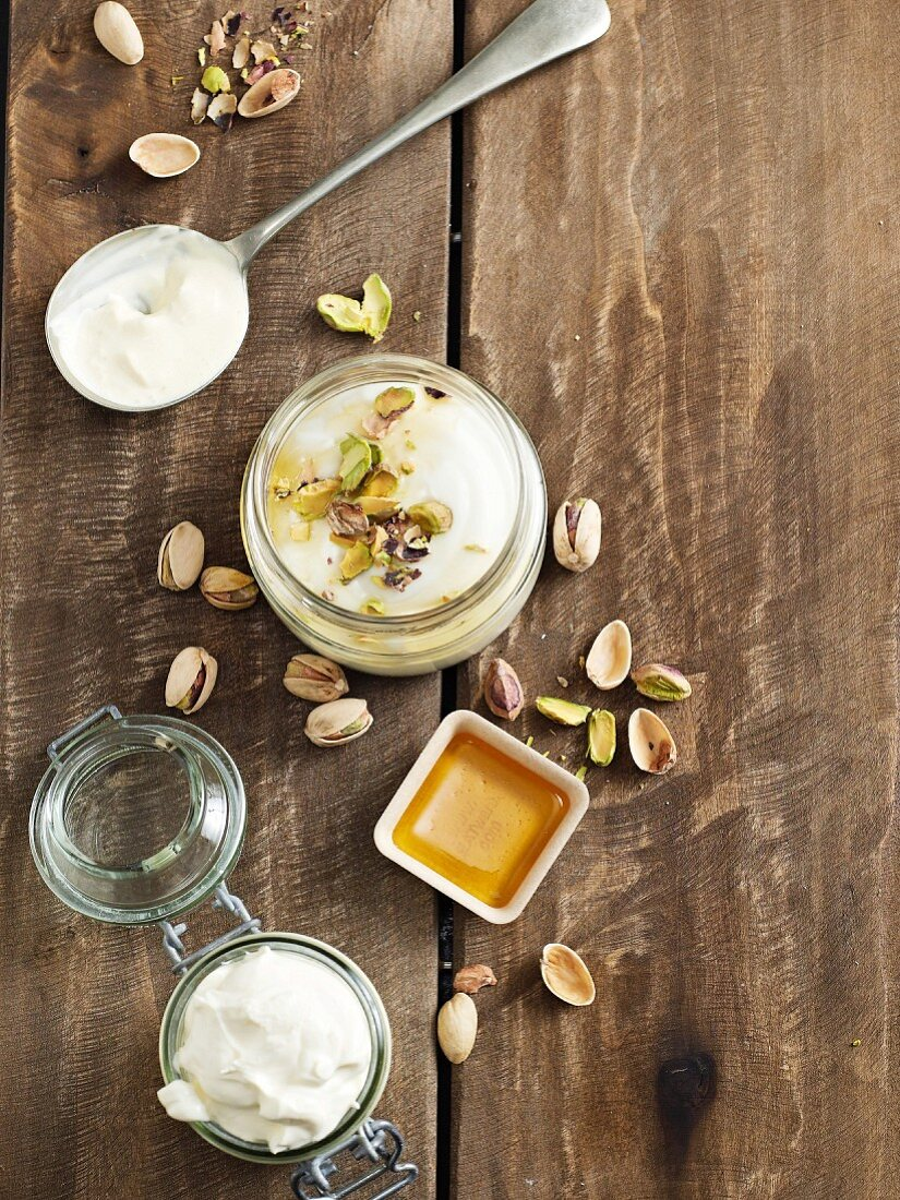 Mascarpone, crème fraîche and Greek yoghurt for dessert
