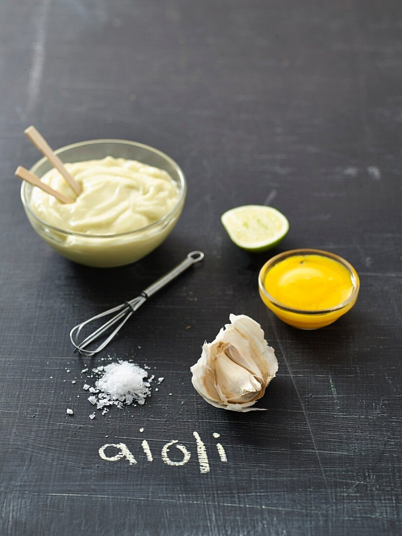 Aioli and ingredients