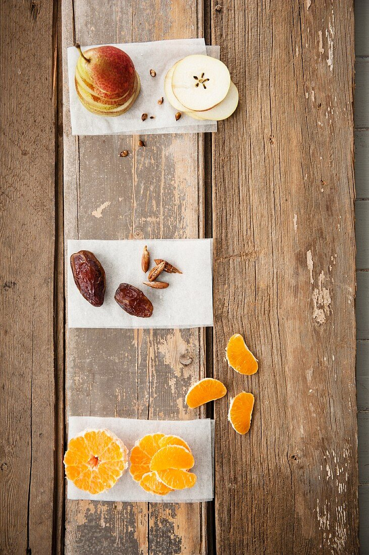 Pears, dates and tangerines
