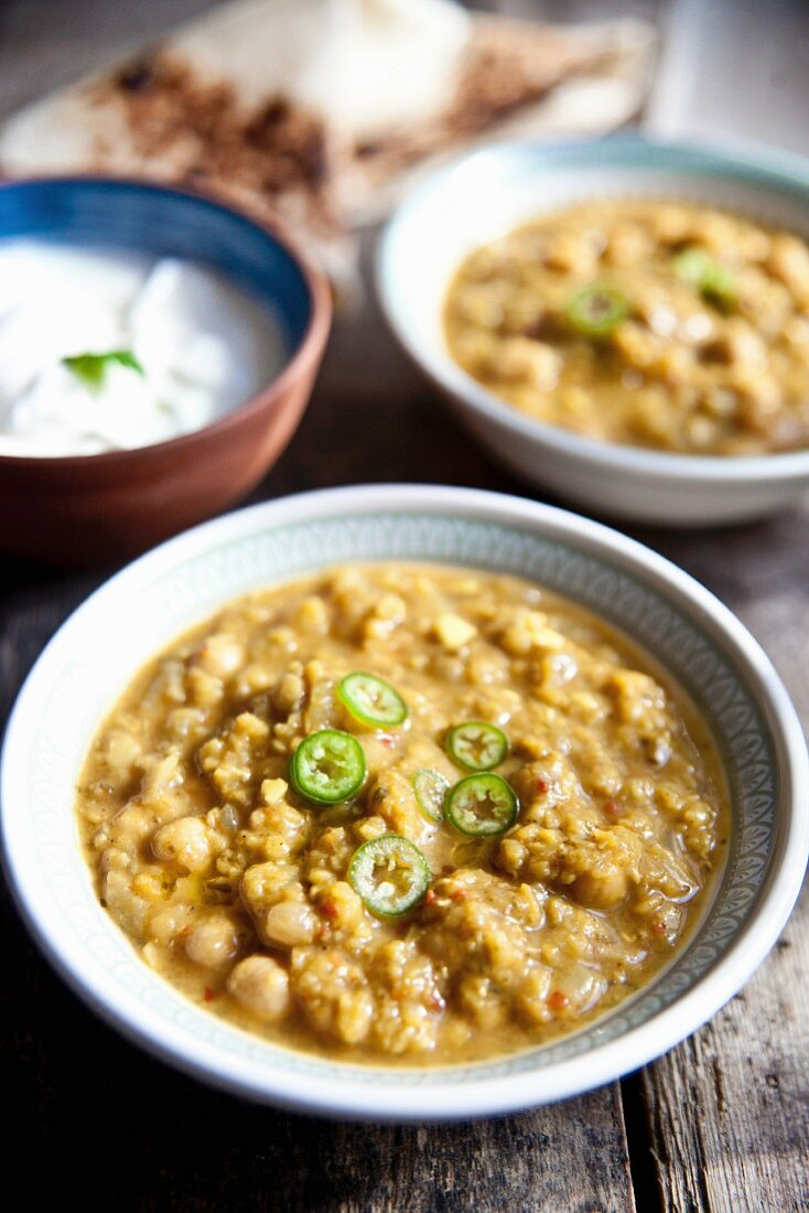 Chana Masala (chickpea curry) with unleavened bread and raita