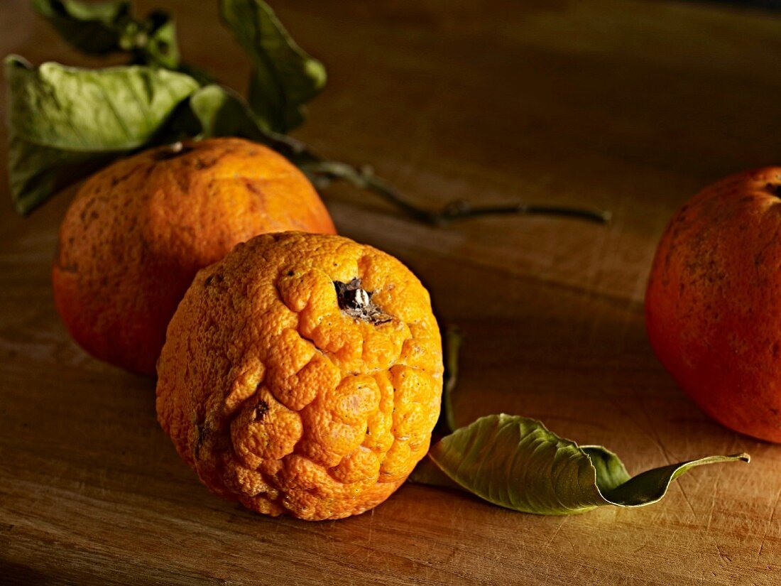 Two bitter oranges with leaves on a wooden surface
