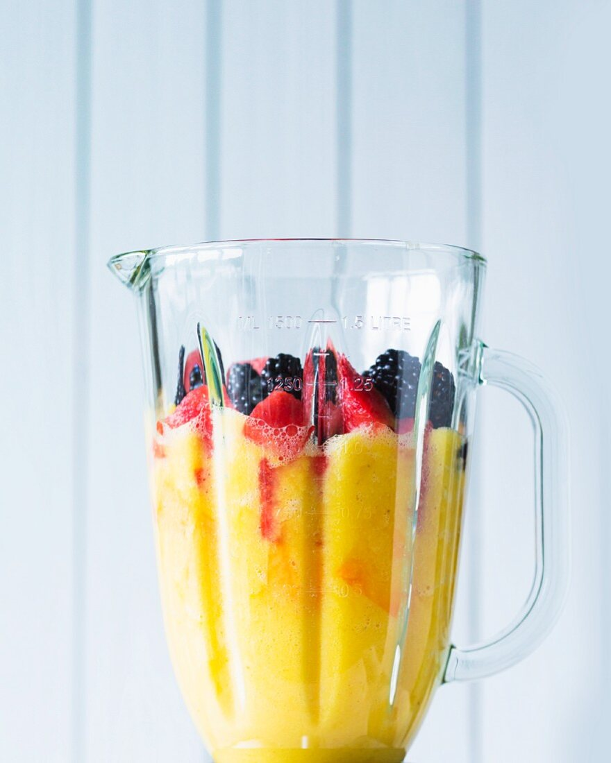 Fruit in a mixer