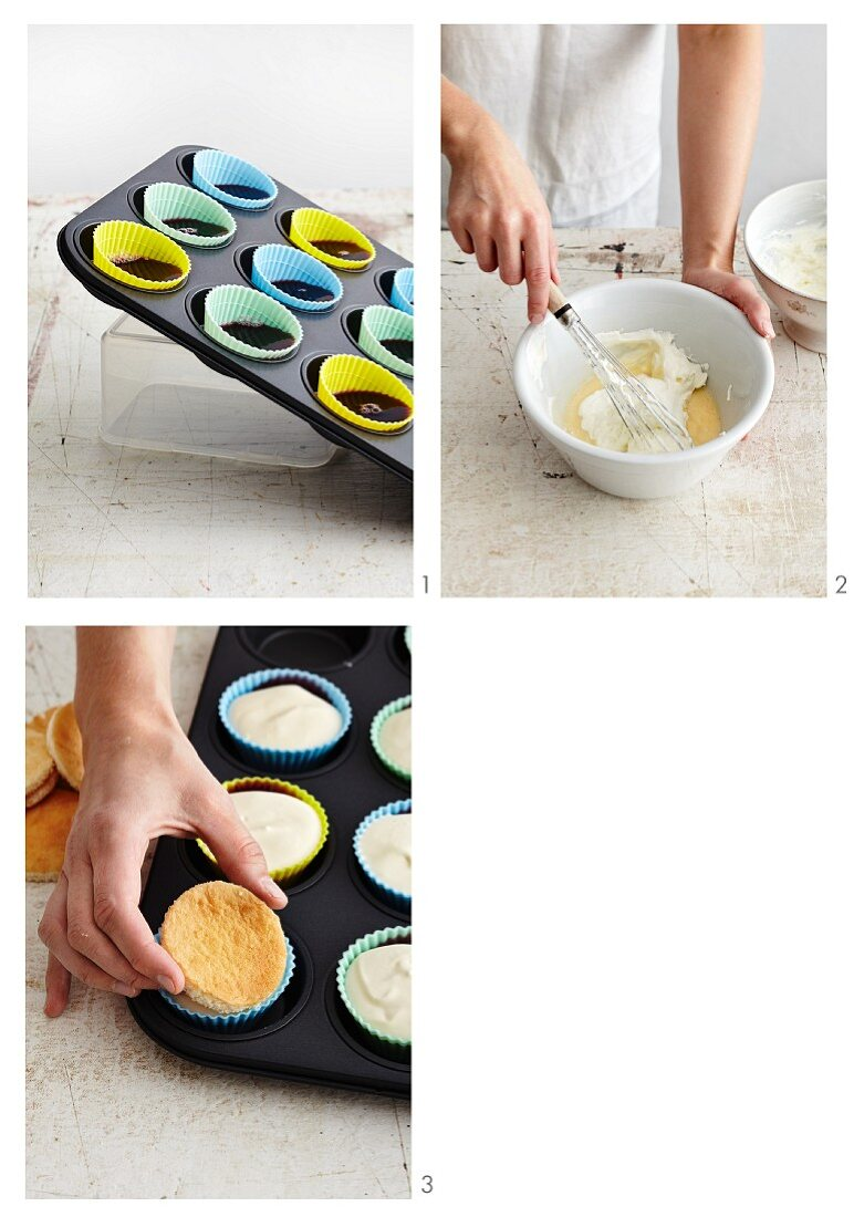 Cassis-rosemary cakes with sponge bases being made