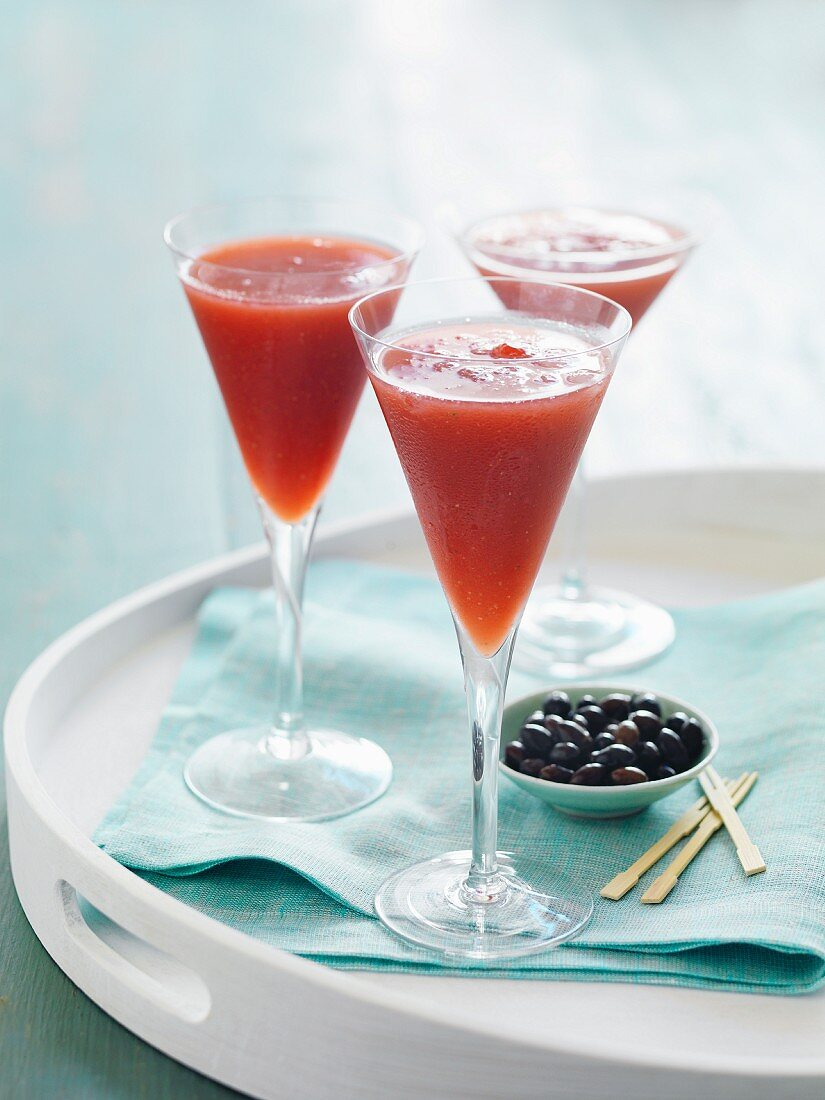Strawberry cocktails with olives