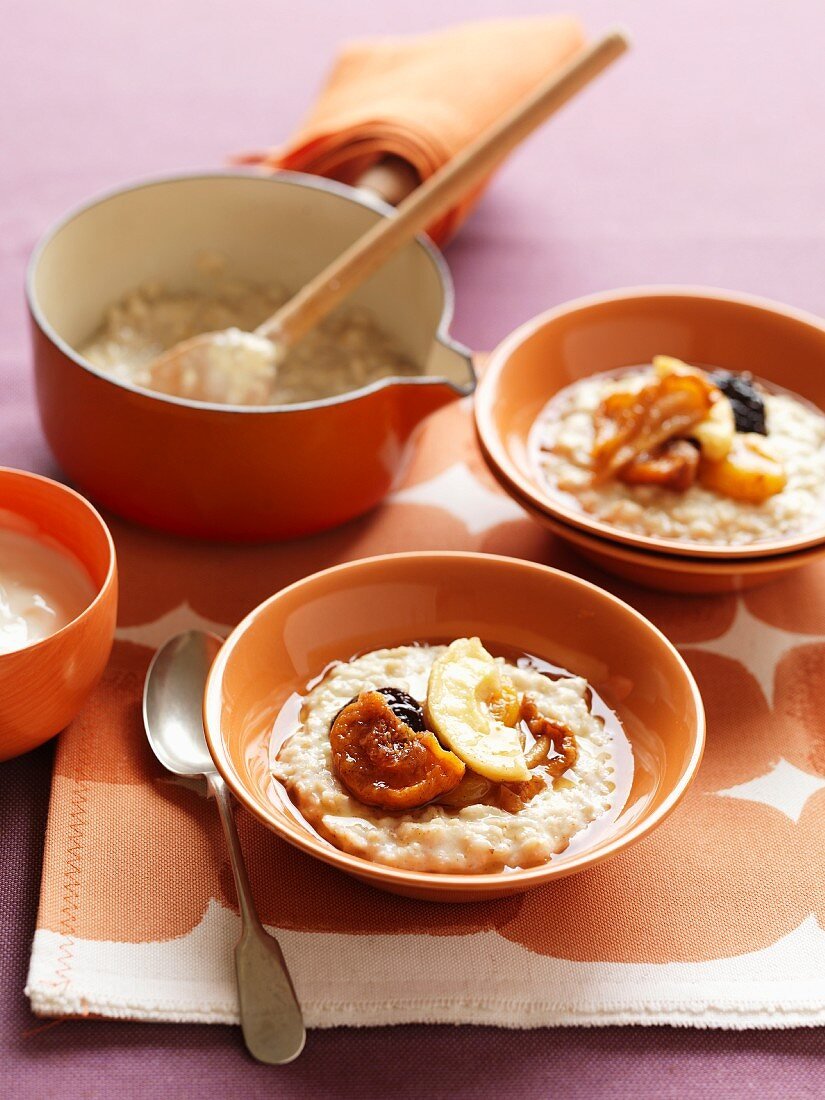 Porridge with dried fruit compote