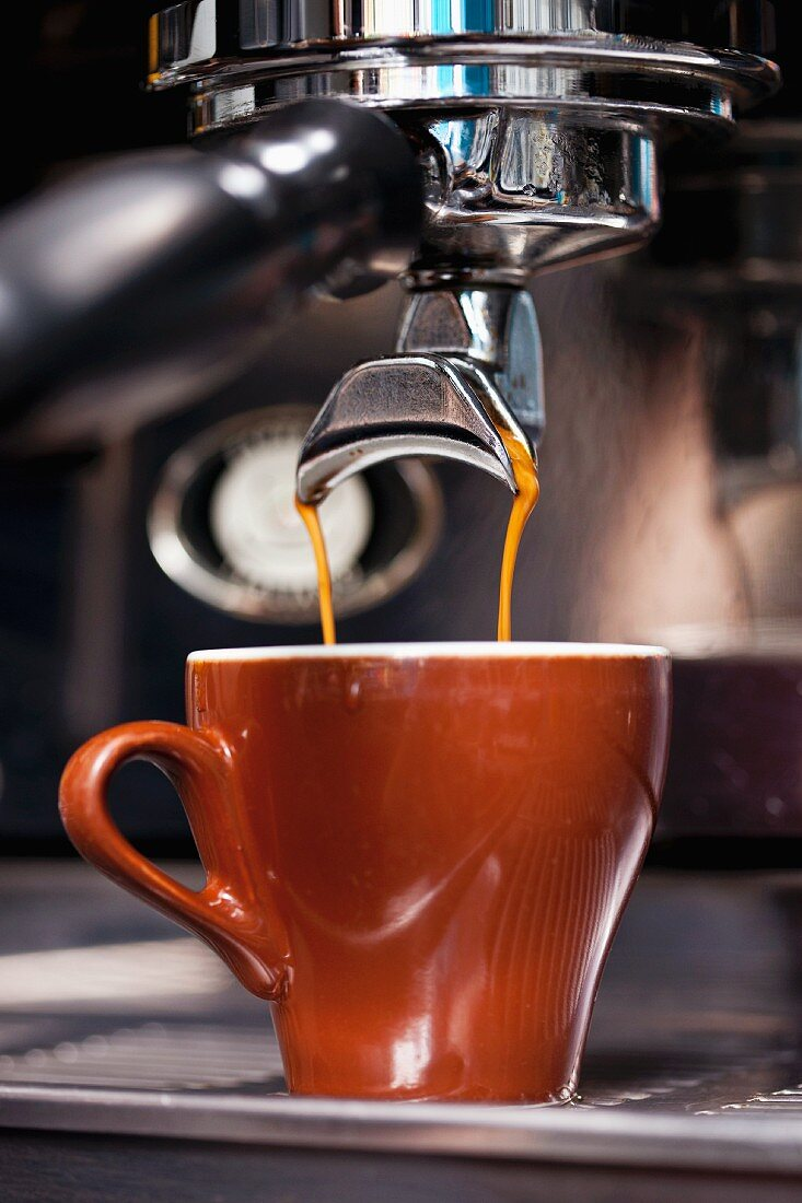 An espresso being made with an espresso machine
