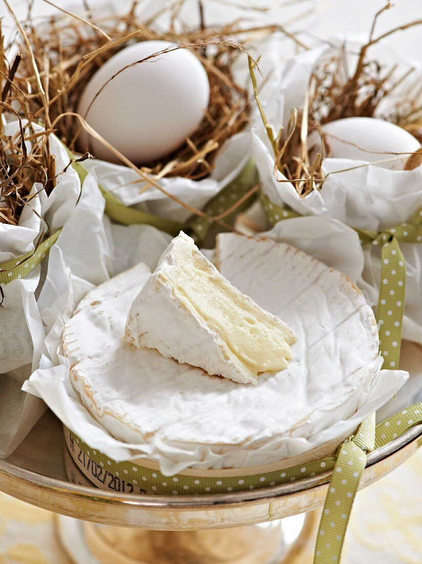 Camembert and eggs in a nest for an Easter brunch