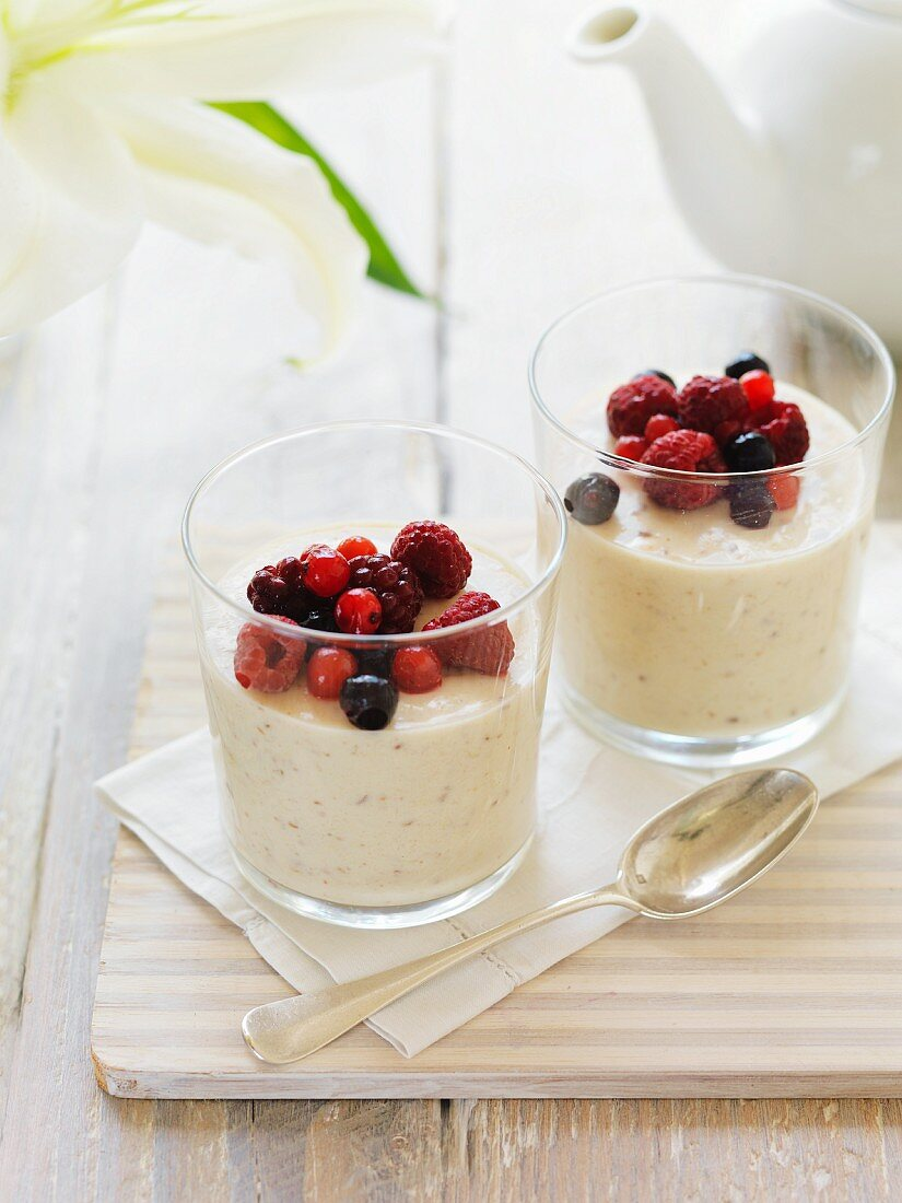 Breakfast panna cotta with berries