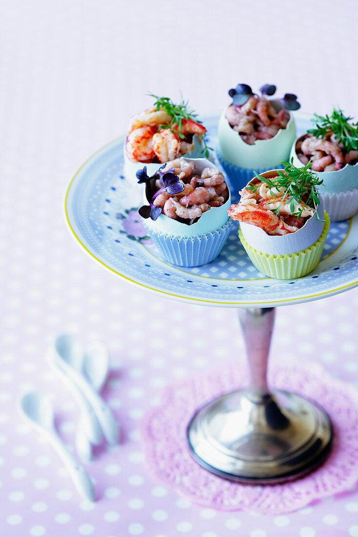Crab and shrimps served in eggshells for Easter