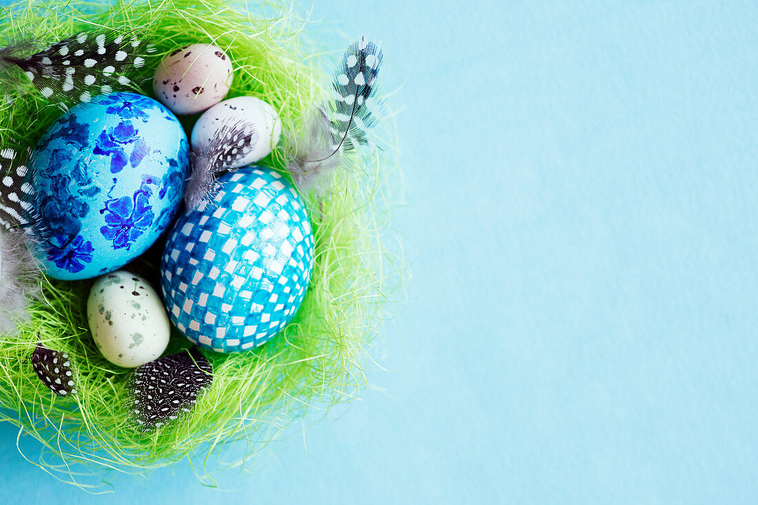 Eggs and feathers in a green Easter nest