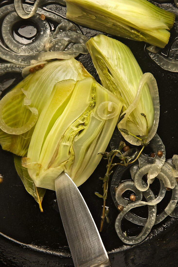 Fennel and onions being fried