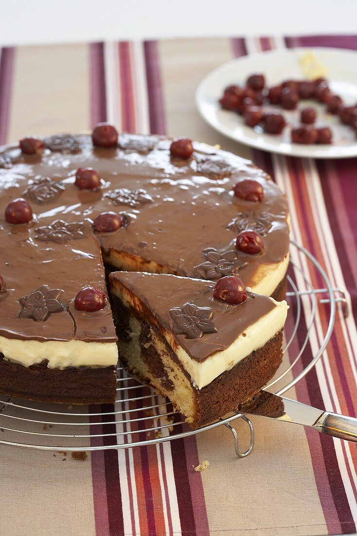 Donauwelle (German marble cake) with cherries