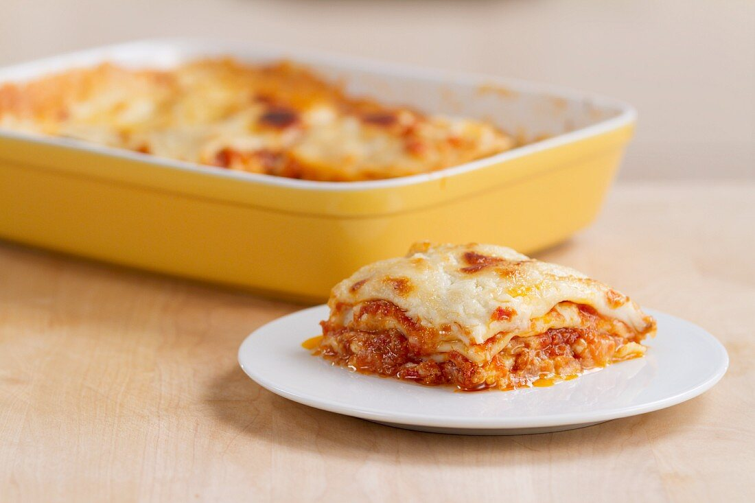 A portion of lasagne on a plate