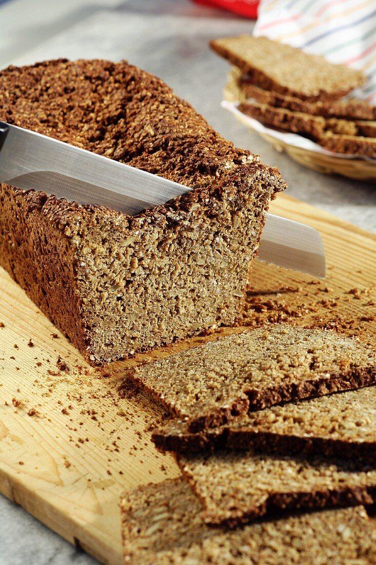 Black bread, sliced