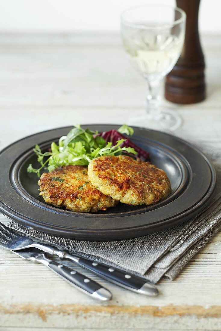 Crab cakes with a side salad