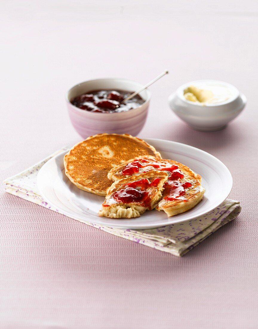 Pancakes with jam and custard cream