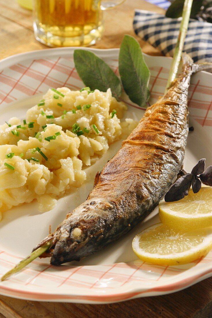 Grilled fish on a stick (a speciality from Munich, Germany)