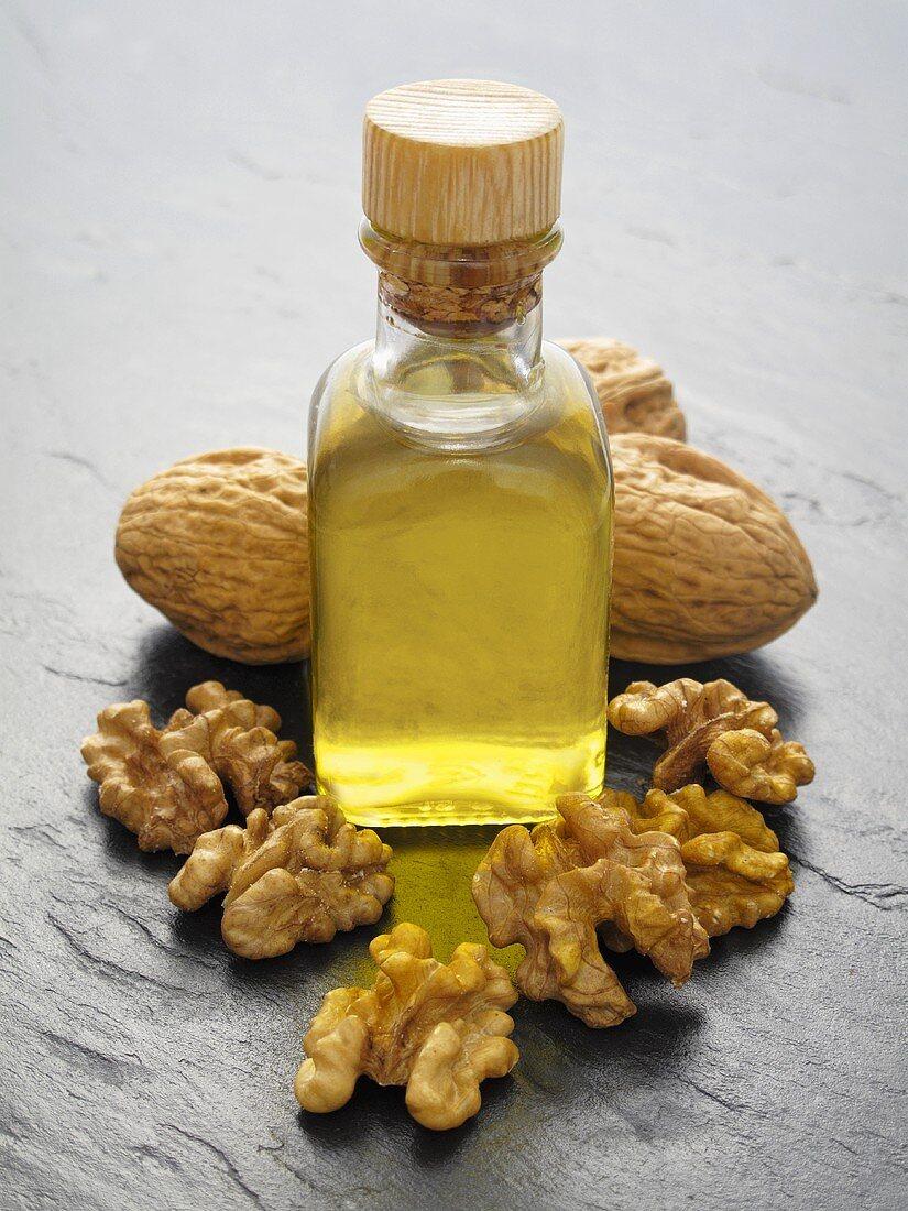 Walnut oil, walnuts and walnuts in shells