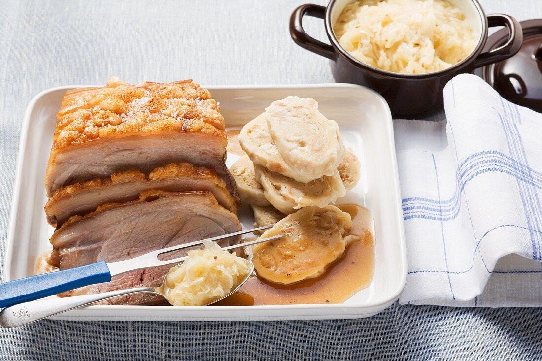 Czech roast pork with sauerkraut and napkin dumplings